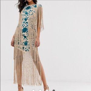 ASOS fringe embroidered dress